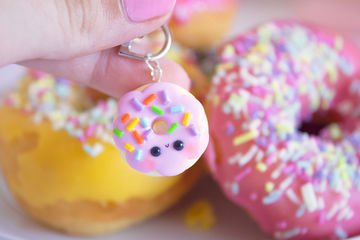 FIMO Kawaii donut key tag